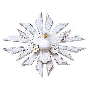 Divino Espírito Santo com Flores Oval Madeira Pátina Branca Rústico (21x28)cm