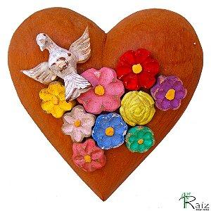 Divino Espírito Santo Coração com Flores Madeira Encerado Colorido