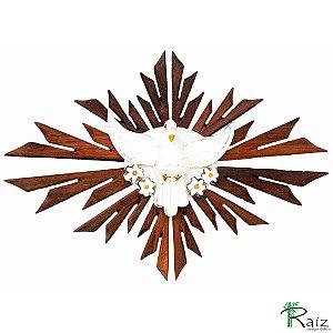 Divino Espírito Santo Madeira Resplendor Oval Encerado Rústico 50cm