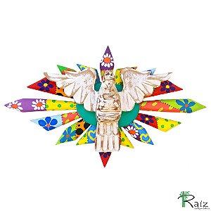 Divino Espírito Santo Resplendor Oval Madeira Pátina Branca Patchwork 42cm