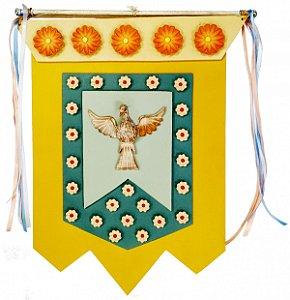 Estandarte Divino Espírito Santo Amarelo Com Policromia e Paspatur (39x47cm)
