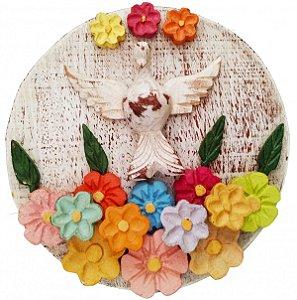 Mandala Divino Espírito Santo  Com Flores Linha Rústico Fina