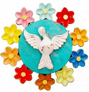 Mandala Divino Espírito Santo e Flores Vazada Linha Luxo 2 (25x25cm)
