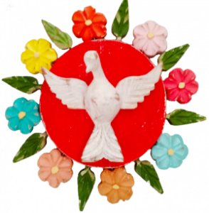 Mandala Divino Espírito Santo e Flores Vazada Linha Luxo Color (20x20cm)