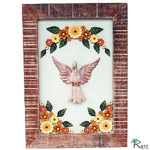 Quadro Divino Espírito Santo com Flores Madeira 70cm