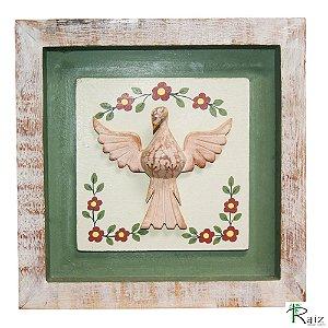 Quadro Divino Espírito Santo com Flores Rústico Encerado Pátina Branca Fundo Verde (26x26x3)cm