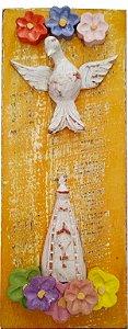 Quadro Divino Espírito Santo e Nossa Senhora Aparecida (25x12cm)