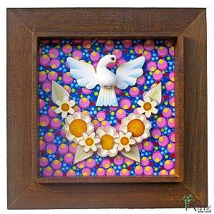 Quadro Divino Espírito Santo Flores Madeira Fundo Colorido Moldura Natural 45 cm
