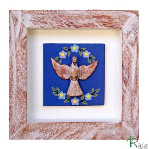 Quadro Divino Espírito Santo Moldura Patinada Azul (16x16)cm