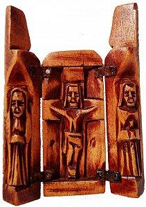 Oratório 3 Santos Madeira com Dobradiças  (São José, Nossa Senhora e Jesus Cristo) 11cm