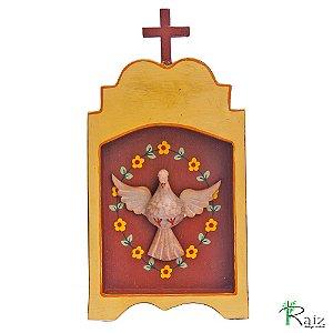 Oratório Artesanal em Madeira Divino Espírito Santo