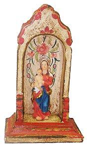 Oratório de Madeira Branco Entalhado e Pintado a Mão (15cm)