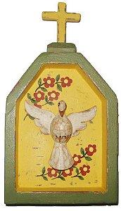 Oratório Divino Espírito Santo  Amarelo Linha Fina (10x18cm)