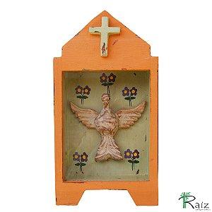 Oratório Divino Espírito Santo Madeira e Vidro para Mesa ou Parede Pêssego 26cm