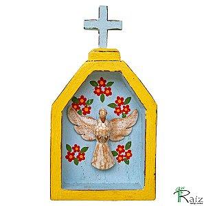 Oratório Divino Espírito Santo Madeira para Mesa ou Parede Amarelo e Azul (18x10x3)cm