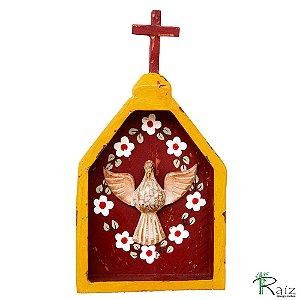 Oratório Divino Espírito Santo Madeira para Mesa ou Parede Amarelo e Marrom (24x13x3)cm
