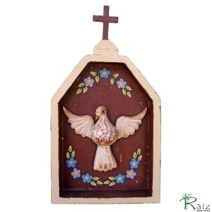 Oratório Divino Espírito Santo Madeira para Mesa ou Parede Marrom