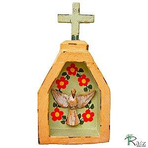 Oratório Divino Espírito Santo Madeira para Mesa ou Parede Rosa (14x7x3)cm