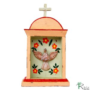 Oratório Divino Espírito Santo Madeira para Mesa ou Parede Rosa e Verde Claro 26cm