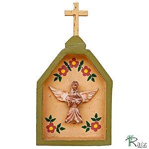 Oratório Divino Espírito Santo Madeira para Mesa ou Parede Verde e Pêssego (24x13x3)cm