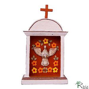 Oratório Divino Espírito Santo Madeira para Mesa ou Parede Violeta Claro e Marrom 26cm