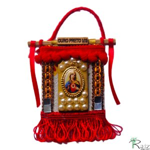Mini Estandarte Sagrado Coração de Maria Ímã de Geladeira