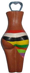 Abridor de Garrafas Madeira Listras - Corpo Feminino Entalhado (7x19cm)