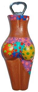 Abridor de Garrafas Madeira Patchwork - Corpo Feminino Entalhado (7x19cm)