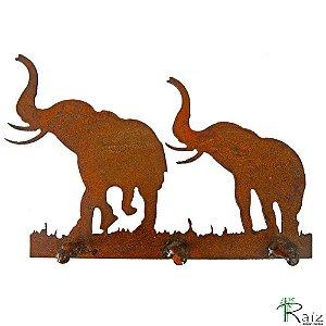 Cabideiro/Chaveiro Elefantes Recortado em Ferro 3 Pinos Rústico