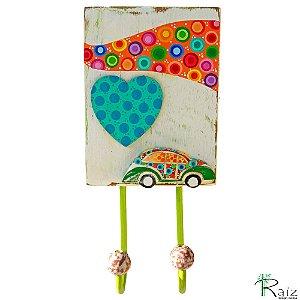 Cabideiro com 1 Gancho em Madeira Fusca Pintura Colorida - Coleção I love Fusca