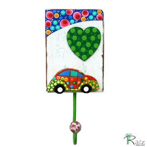 Cabideiro com 1 Gancho em Madeira Fusca Pintura Colorida - Coleção I love Fusca - 18 cm
