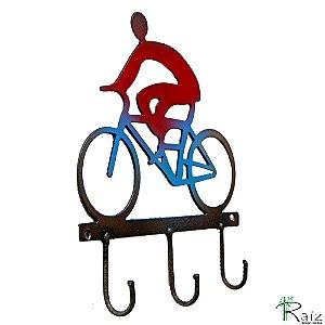 Cabideiro Estilo Ciclista Recortado em Metal Três Ganchos
