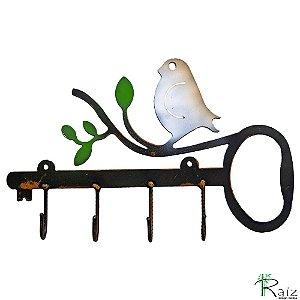 Cabideiro Estilo Pássaro Recortado em Metal Quatro Ganchos