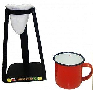 Coador Com Xícara Esmaltada Vermelha (400mL)