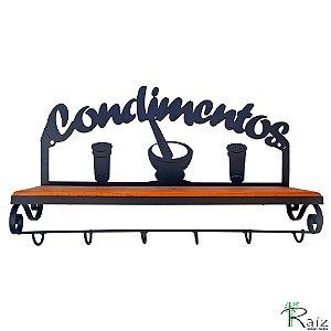 Prateleira Porta Condimentos de Madeira e Ferro com 6 Ganchos Cozinha