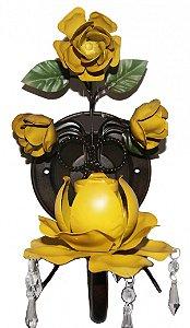 Arandela de Ferro Amarela Para Lâmpada com Pingentes Coleção Mimo (29 cm)