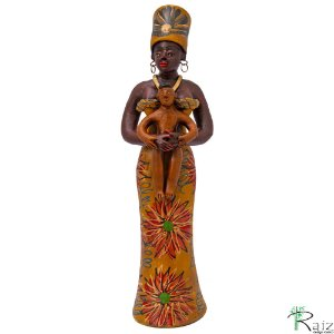 Boneca de Cerâmica com Criança Artesanato Nacional Coleção Brasil