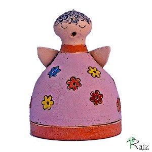 Escultura em Cerâmica Anjo Sineta