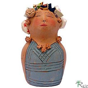 Escultura Feminina em Argila com Cabelos de Porcelanato