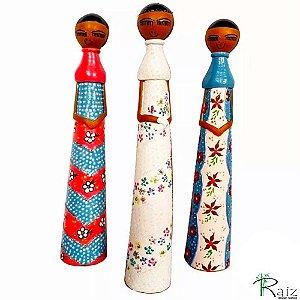 Trio de Bonecas Olívias Cerâmica Assinadas Luxo