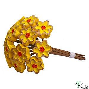 Buquê de Flores Amarelas (Dúzia) Madeira Entalhada P