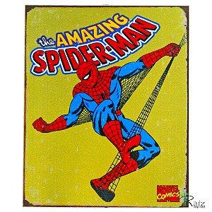 Placa Retrô Coleção Desenhos Homem Aranha Linha Vintage (23x19cm)