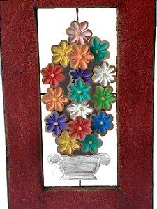 Janela Demolição Espelho Com Vaso de Flores