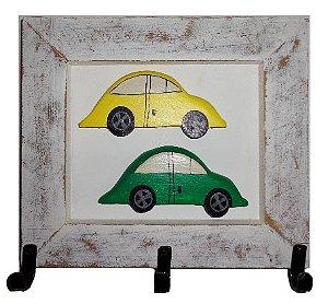 Quadro Cabideiro Fusquinhas Amarelo e Verde (27x25cm)