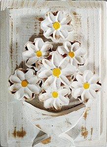 Quadro de Flores Branco Linha Rústica (20x27cm)