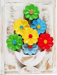 Quadro de Flores Coloridas Linha Rústica (27x20cm)