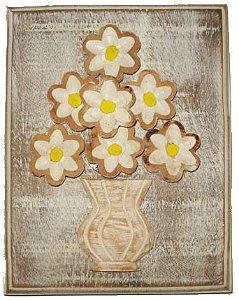 Quadro Flor Sobreposta Branco Linha Rústica (18*23cm)