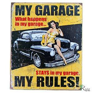 Quadro Garagem Vintage Retrô Estilo Placa de MDF Adesivada 19x23 cm