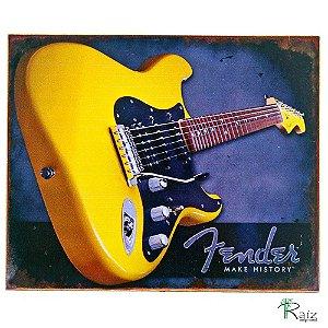 Quadro Guitarra Amarela Madeira Estilo Placa 23x19 cm