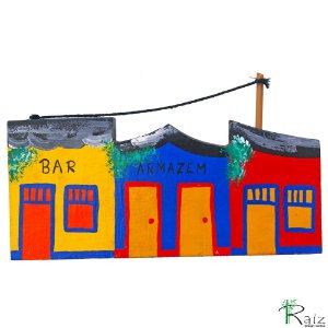 Quadro Recortado Vilarejo com Casas e Comércio Pintado Madeira